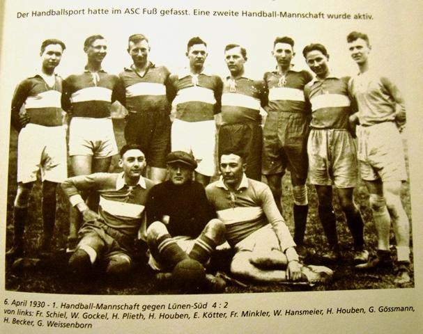 Anno 1930 hatte auch der Handballsport im ASC 09 Fuß gefasst.