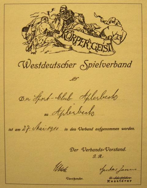 Die Urkunde vom 27. Mai 1910, die die Aufnahme in den Westdeutschen Spielverband bestätigt.