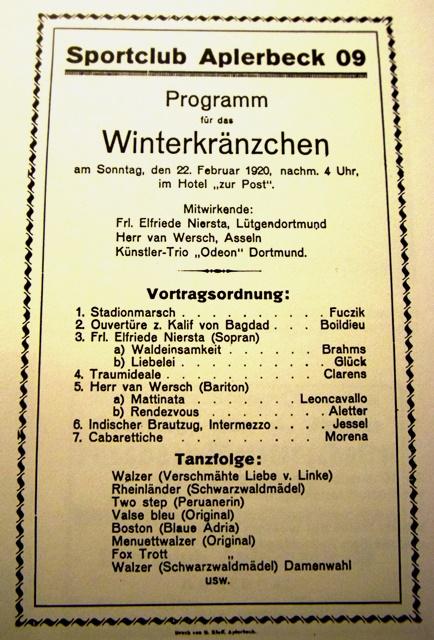 """Programm des """"Winterkränzchens"""" 1920."""
