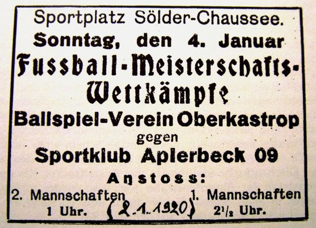 Spielankündigung aus dem Jahr 1920.