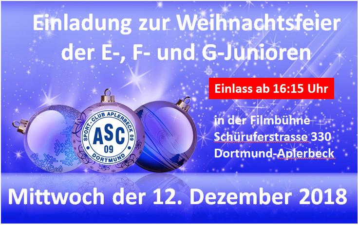 Einladung zur Weihnachtsfeier – E-, F- und G-Junioren