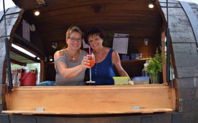 Das Weinfass von Hilgering ist der Hingucker beim Hecker-Cup 2019