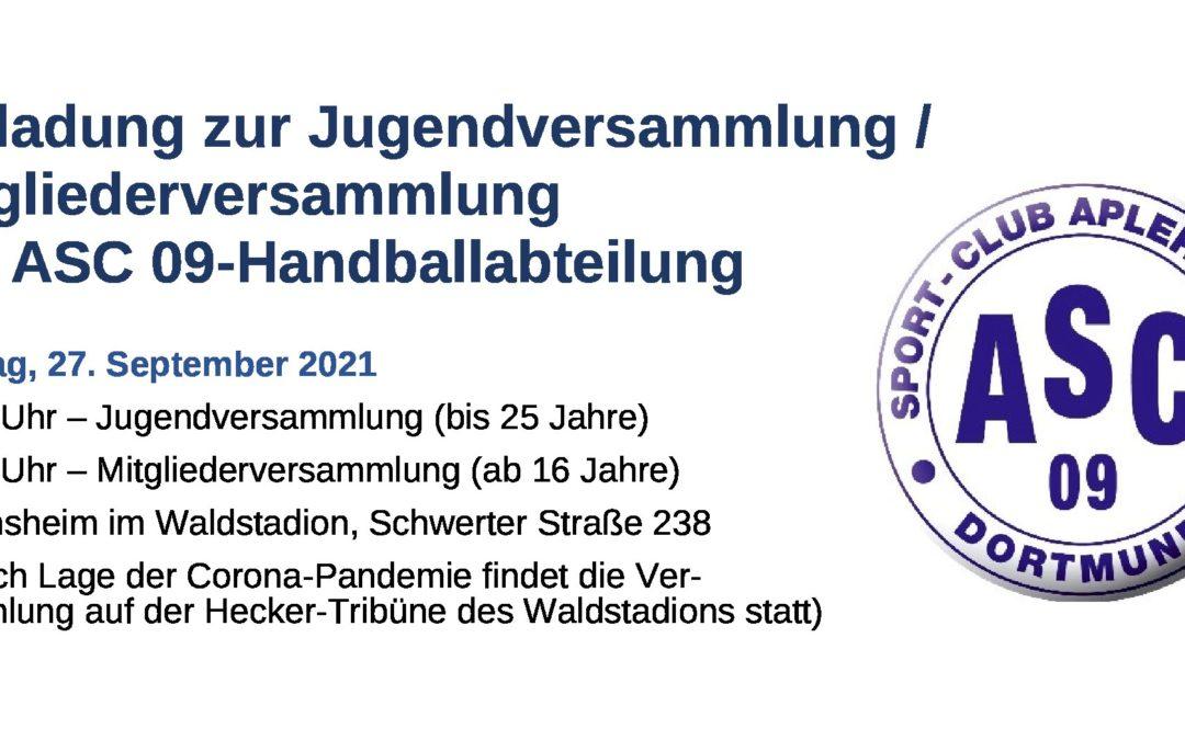 Handballabteilung lädt zur Jugend- und Mitgliederversammlung ein!